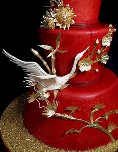 Bold Red Wedding Cake | Bride Ideas -- I've always been into Asian-type stuff.