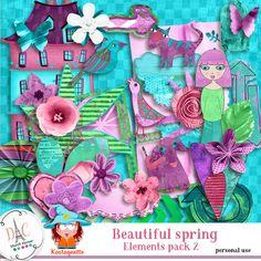 Beautiful spring Elements 2 by Kastagnette Kit, Spring, Beautiful, Design
