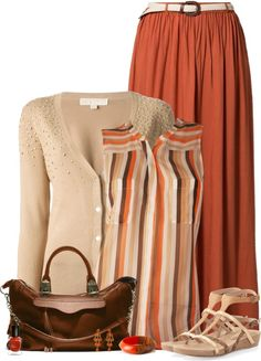 A fashion look from March 2014 featuring joie tops, v neck cardigan and red maxi skirt. Browse and shop related looks. Cute Maxi Skirts, Maxi Skirt Outfits, Modest Outfits, Casual Outfits, Fashion Outfits, Style Steampunk, Modelos Fashion, Business Outfits, Ladies Dress Design