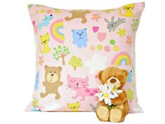 Baby Girl Pillow Nursery Pink Bears Rainbow Cats by PookieandJack, $14.00