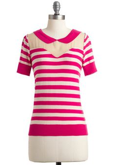 Show Your True Collar Top. Youll look and feel cheerfully bright in this fuchsia-and-cream striped cotton-knit top! #pink #modcloth