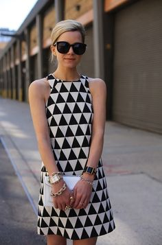 Black And White Geometric Dress 2017 Street Style