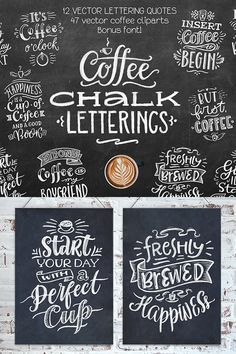 Coffee Chalk Letterings - 12 handdrawn and highly detailed chalk letterings (they're really drawn by chalk on a chalkboard) - Coffee Chalkboard, Coffee Fonts, Chalkboard Writing, Chalkboard Fonts, Chalkboard Designs, Coffee Quotes, Chalk Fonts, Chalk Writing, Chalkboard Lettering Alphabet