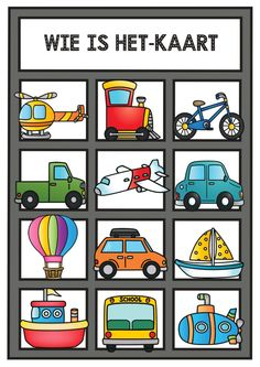 The Transportation Clip Art Set Ted Talks, Transportation Worksheet, Learn Dutch, Color Activities, Exercise For Kids, Preschool Worksheets, Kindergarten Activities, Kids Education, Primary School