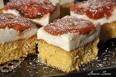 Prajitura cu crema de iaurt si gutui caramelizate Cheesecake, Sweets, Cookies, Fruit, Desserts, Food, Mai, Deserts, Pie