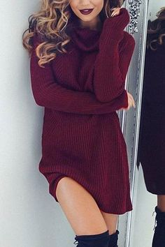 Burgundy Sexy High Neck Long Sleeves Knit Casual Dress