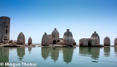 Bathu Temples dipped into the water of Pong Dam Lake in Himachal Pradesh, India