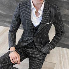 Online Shop 3 Pieces ( Jacket + Vest +Pants) Mens Double-breasted Suit Fashion Striped Groom Wedding Tuxedo for Men Casual Business Suit