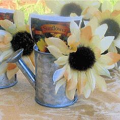 Sunflower Showering Can With Seeds - Baby Shower Favors