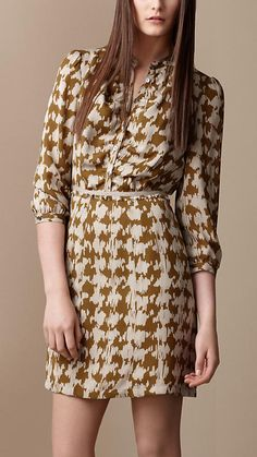 Burberry - Silk Tweed Print Dress