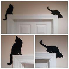 "Puerta resters, puerta o ventana gato siluetas ADORNO TOPPERS. ""conjunto de dos""   Objetos de colección, Animales, Gatos   eBay!"