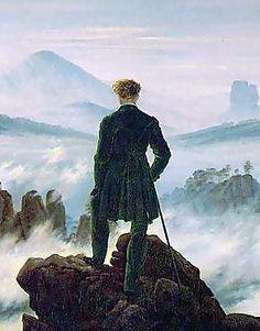 Licht-donkercontrast. Deze kunstschilder onderscheidde zich in de Romantiek, door veel gebruik te maken van licht-donker contrasten. In dit geval zien we de man in het zwart gekleed dat vanuit een donkere rots van zich af kijkt (donker). Het landschap is het lichte gedeelte.