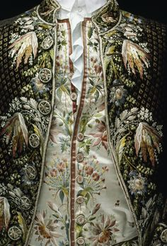 Elaborate silk embroidery decorates this 18th-century French coat and waistcoat.
