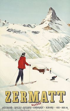 Zermatt, Switzerland Ski Poster (Schol, Vintage ski lithograph in colours printed in 1947 by J C Muller AG, Zurich to promote high alpine skiing in the premier Swiss resort of Zermatt in the lee of the Matterhorn. Vintage Ski Posters, Retro Poster, Poster Art, Nordic Skiing, Alpine Skiing, Zermatt, La Provence France, Evian Les Bains, Tourism Poster