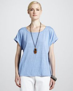 Eileen Fisher boxy linen jersey top from Neiman Marcus | pattern twin SW Eureka top