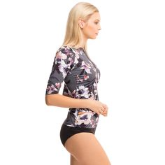 CLAUDETTE half sleeve swim top in Acquerello – SunSoaked – luxury sun protective swimwear