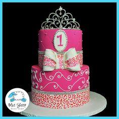 1st Birthday Princess with Leopard Print Cake