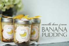 Homemade Food Gifts: Vanilla Bean & Rum Banana Pudding (in mason jars)