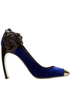 Nicholas Kirkwood blue shoes with beautiful black flower..