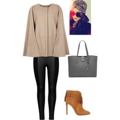 """""""Fall Cape Jacket"""" by fashionscoutapp on Polyvore. Fall is just around the corner whether we like it or not. This year opt for a timeless cape jacket for those chilly morning commutes. Pair with sleek leggings, fringe booties, oversized sunnies and a head wrap. This may just be the most stylish fall you've ever had."""