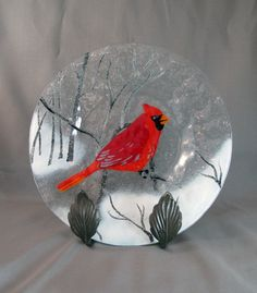 Vintage Fused Glass Plate with Cardinal Bird by GalleryBotanica