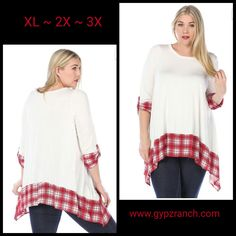 California  Crusin' Ivory & Red Plaid Tunic Top - Plus Size