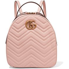 Gucci GG Marmont quilted leather backpack (6.505 RON) ❤ liked on Polyvore featuring bags, backpacks, backpack, gucci, pastel pink, zipper bag, gucci backpack, pink backpack, pastel backpack and pastel pink backpack
