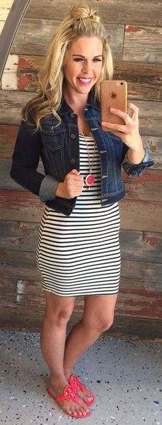 Ribbed Striped Dress: White from privityboutique