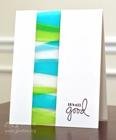 """JJ Bolton: colored vellums and cut a variety of """"waves"""". I layered them, attached them betw 2 card stock panels. Then ea corner has a dimensional underneath. them:) The last step was to add a tiny bit of sugar glitter here and there. I picked one of my favorite sentiments from the Everyday Greetings set"""