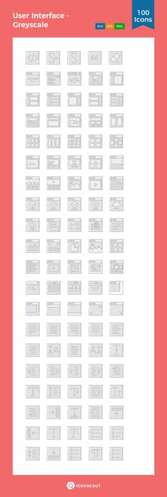 User Interface - Greyscale  Icon Pack - 100 Filled Outline Icons