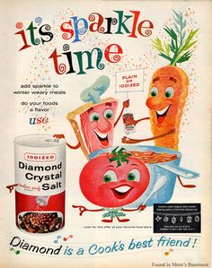 It's Sparkle Time! Vintage illustrated advertisement for salt.