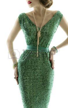 Mulher vestido retro forma vestido de lantejoulas brilho elegante estilo de roupa vintage isolado no Imagens