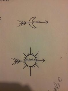"This are the tattoos my brother and i are getting. The sun and moom represent brother and sister Apollo and Artemis and it says ""fratellino"" and ""sorella"" which is ""little brother"" and ""big sister"" in italian"