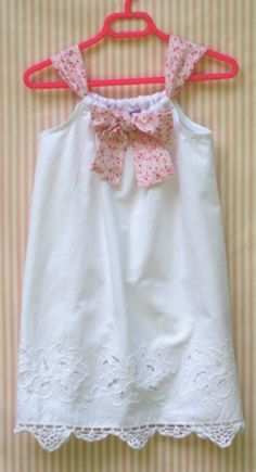 Size 5 Upcycled White Pillowcase Dress Cutwork by TwoSweetMamas, $35.00
