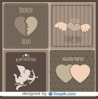 Vintage Love Cards Collection Free Vector