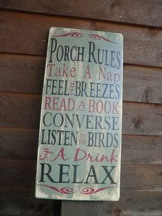 Porch Rules wood sign outside decor  by mockingbirdprimitive, $35.00