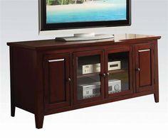 Christella Cherry Wood Glass TV Stand W/Glass Doors
