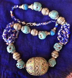 Moroccan Berber Necklace with Old Enamel Eggbead by TuaregJewelry ~ETS #moroccanjewelry #boho #ethnic