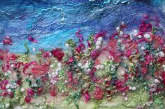 Coastal Textile Painting Fibre ArtPainting With by AppleAndBlossom Cloth Flowers, Felt Flowers, Felt Pictures, Needle Felting Tutorials, Coastal Wall Art, Wool Art, Felt Fabric, Textiles, Felt Hearts