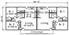 Ranch Multi-Family Plan 87367 Level One - A duplex with a great layout- just need to stack the units vs side by side .
