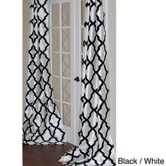 Trellis Bold Flocked 96-inch Curtain Panel in White/black (As Is Item)