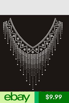 Decoration Rhinestone iron on Bling Transfer DIY Hot fix Applique V neckline White Patterns, Appliques, Embroidery Designs, Ss, Weaving, Bling, Crafts, Ebay, Collection