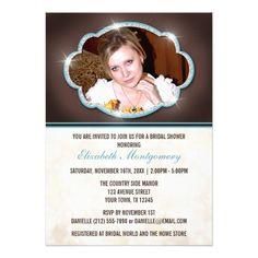 Rustic Glitter Blue Photo Bridal Shower Invitation