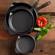 """The Pioneer Woman Timeless Cast Iron 3-Piece Set, 6"""", 8"""" and 10"""" Cast Iron, Pre-Seasoned"""