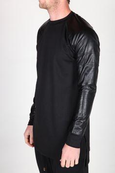 Leather Sleeve Crew by ADYN   Sweatshirt   machus