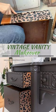 Vintage Vanity Makeover w Cheetah Drawers Here's a modern-moody-black-brown that makes a statement while adding a TON of character to your furniture makeovers, decor projects… and even your walls. I'm also including a few. Diy Furniture Plans, Diy Furniture Projects, Refurbished Furniture, Repurposed Furniture, Furniture Design, Black Furniture, Furniture Vintage, Farmhouse Furniture, Copper Furniture