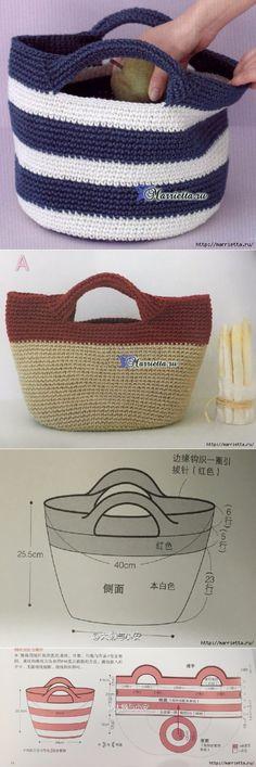 Summer handbag with handles. Scheme of knitting by a hook