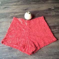"""Festival season! Coachella! Coral crochet shorts Absolutely stunning and perfect for Coachella coming up!!' Coral crochet high waisted shorts. The measurements are 15"""" waist 11"""" rise 2.5"""" inseam. size large slight stretch lined Material inside Latiste  Shorts"""