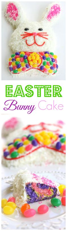 Easter Bunny Cake - Easy to put together and the kids love it. the-girl-who-ate-everything.com