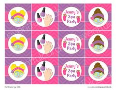 Spa Birthday Party Circles  Cupcake Topper  by eventfulcards, $9.00